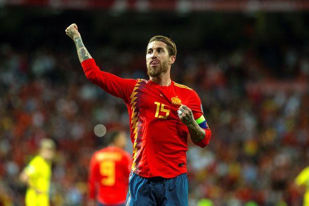 Sergio Ramos tuuletti voittomaaliaan Ruotsin verkkoon.