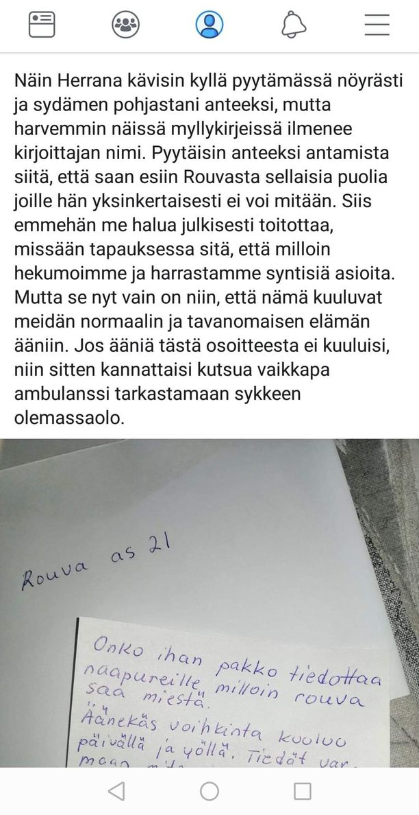 Joni kirjoitti Facebookkiin tuiman viestin samana päivänä, kun oli saanut Heidin kanssa kirjeen, jossa naapuri valitti seksiäänistä.