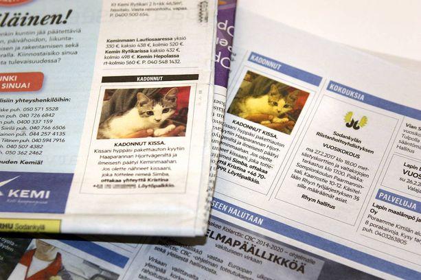 Omistaja etsi Simba-kissaa lehti-ilmoitusten avulla.
