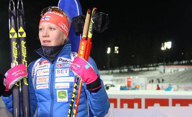 Kaisa Mäkäräinen ei onnistunut lauantaina Östersundissa.