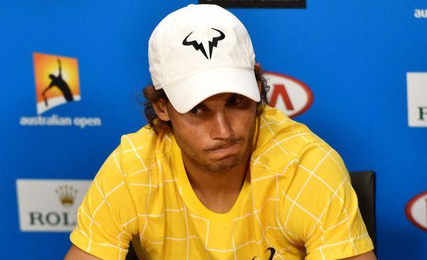 Rafa Nadal oli apeana ensimmäisen kierroksen tappion jälkeen.