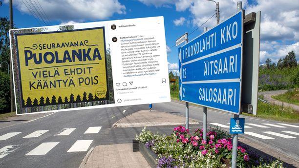 Suomalaisteiden varsilta löytyy monenlaisia kuntien mainoslauseita. Kuvassa oleva Puolangan kyltti ei tosin ole virallinen, vaan se on paikallisen pessimistiyhdistyksen pystyttämä.