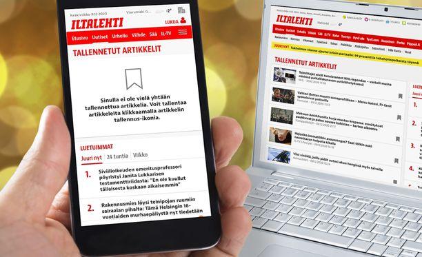 Juttujen tallennusmahdollisuus ja lukeminen yli laiterajojen on tuorein etu, jonka Alma-tunnuksen luoneet kirjautuneet käyttäjät Iltalehdessä saavat.