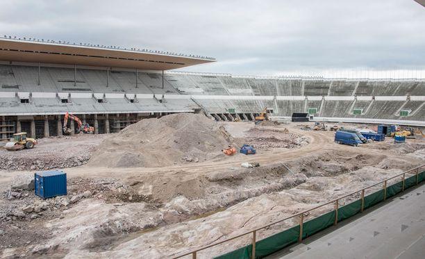 Tältä näyttää Stadionin kentällä.