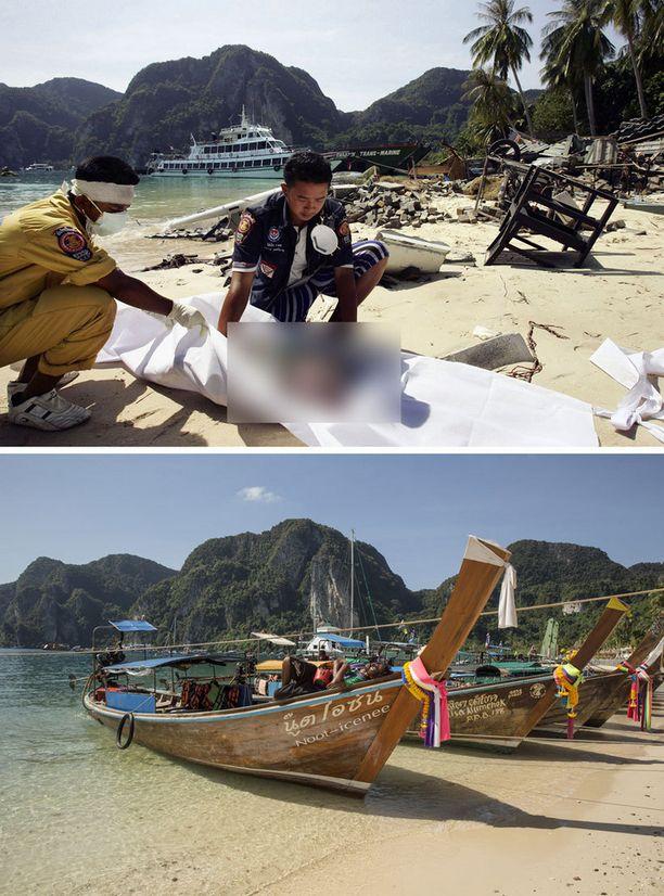 Phi Phin kylän ranta Ton Sai Bayssa Thaimaassa