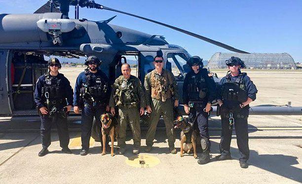 Rannikkovartioston yksikkö K9 harjoitteli koiriensa kanssa.