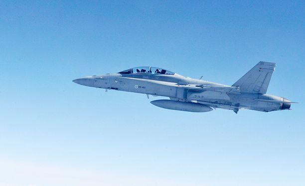 Hornet laskeutui toisen moottorin avulla. Kuvituskuva.