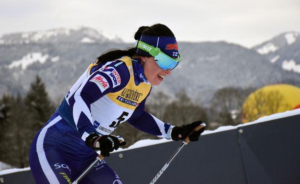 Krista Pärmäkoski oli viides Oberstdorfin takaa-ajossa torstaina.