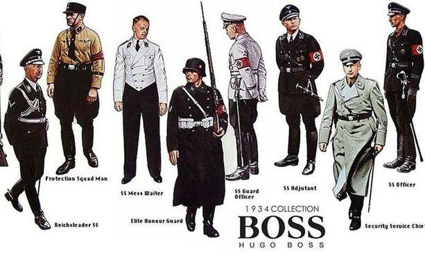 Netistä löytyy Hugo Bossin natsimenneisyyttä pilkkaavia kuvia.