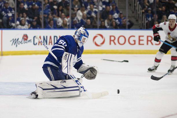 Kasimir Kaskisuo pelasi Toronton maalilla syyskuun harjoitusottelussa, mutta pelit NHL:n runkosarjassa ovat vielä korkkaamatta.