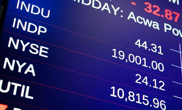 Dow Jones hyppäsi ensimmäisen kerran yli 19 000 pisteen keskipäivän aikohin paikallista aikaa.