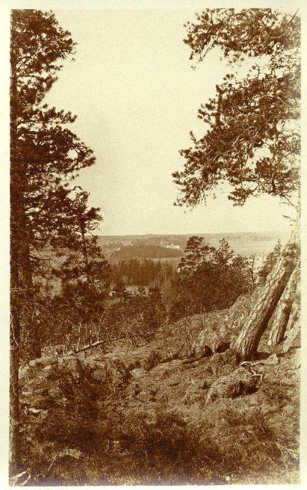 Näkymä Kasavuorelta vuodelta 1915, vain muutama vuosi ennen huvilan rakennustöiden aloittamista.