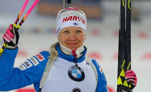 Kaisa Mäkäräinen on noussut MM-kisoissa kuusi kertaa palkintopallille.