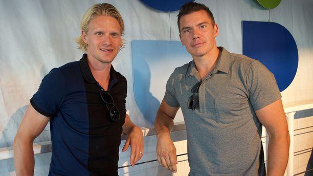 Immonen ja ketjukaverinsa Jani Tuppurainen (vas.) olivat mukana jo JYPin kultajoukkueessa kaudella 2008-09, jälkimmäinen myös kevään 2012 mestareissa.