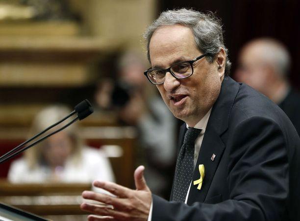 Itsenäisyysmielinen Quim Torra kertoi jatkavansa taistelua Katalonian puolesta.