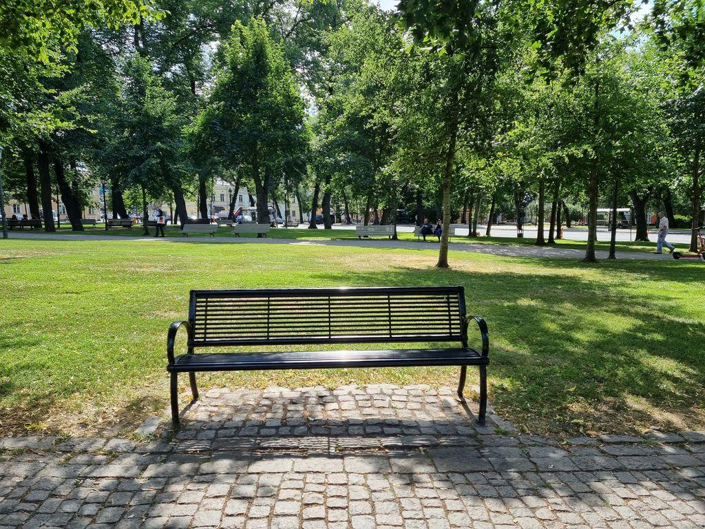 Tällä puistonpenkillä Erno kertoi elämäntarinansa ja näkemyksensä Turun huumemaailmasta. Mukana haastattelussa oli terveydenhoitaja.
