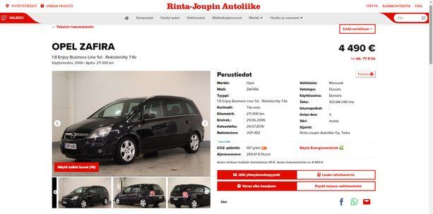 Rinta-Jouppi myi Opel Zafiran pariskunnalle. Auton viat ilmenivät vasta oston jälkeen.