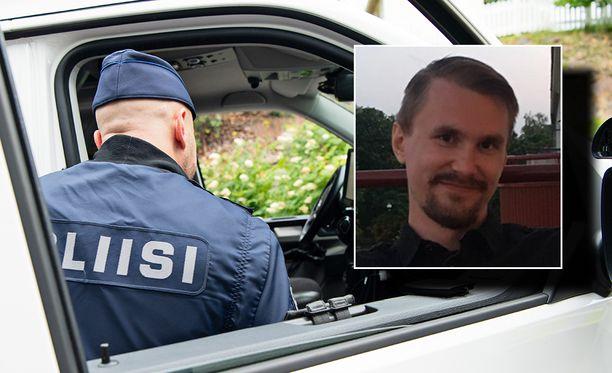Poliisi etsii kuvassa oikealla näkyvää miestä. Taustalla kuvituskuva.