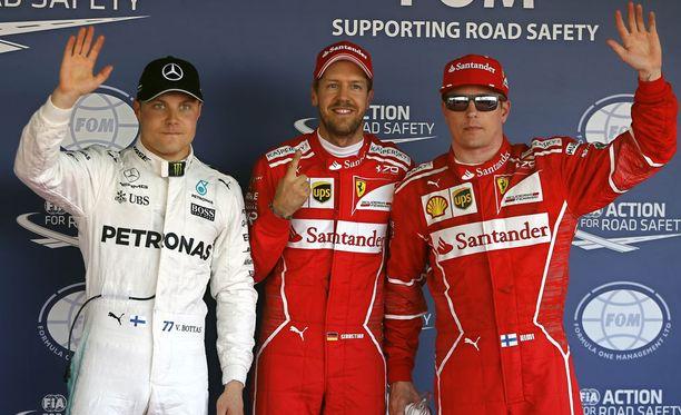 Valtteri Bottas, Sebastian Vettel ja Kimi Räikkönen olivat aika-ajojen kolme nopeinta.