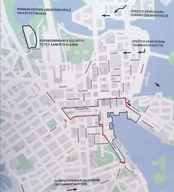Kartassa merkityt alueet on suljettu maanantaina kello 11 ja maanantai-illan välillä. Myös muita katuosuuksia saatetaan sulkea tarvittaessa. Viivoitettu alue on autoton. Alueella saa liikkua kävellen, pyörällä ja välillä joukkoliikennekin kulkee alueella. Poliisi kuitenkin ohjaa liikkumista alueella ja tilanteet voivat muuttua.