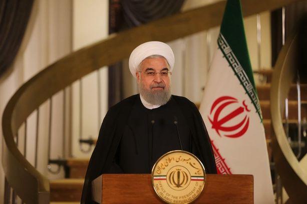 """Iranin presidentti Hassan Rouhani kutsui Trumpin puhetta tuoreeltaan """"pinoksi harhaisia väitteitä""""."""