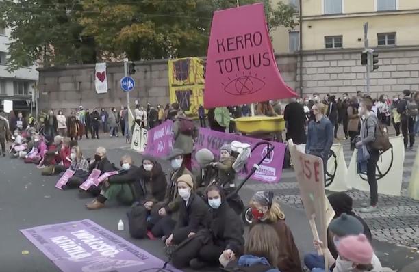 Mielenosoitus tapahtui Unioninkadulla Kruununhaan länsipäässä.