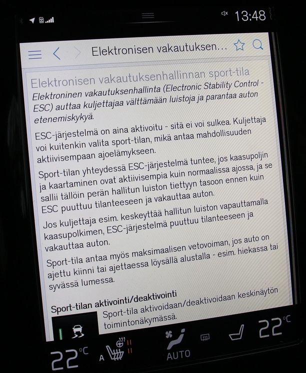 Moderni ESC-järjestelmä sallii myös ns. urheilullista ajoa, mutta tässä Volvon tapauksessa se ei koskaan kytkeydy kokonaan irti.