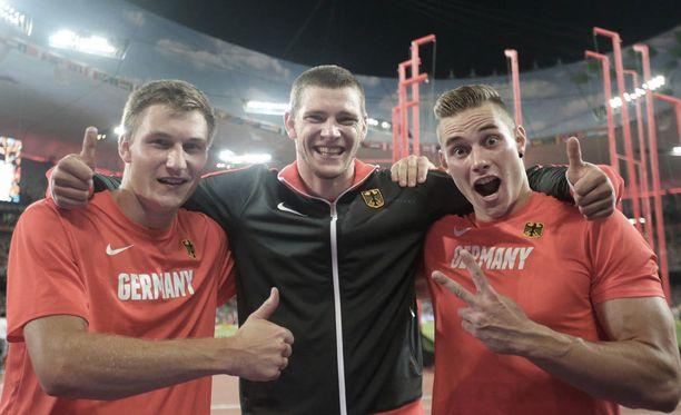 Thomas Röhler, Andreas Hofman ja Johannes Vetter heittivät viime kaudella Pekingin MM-kisoissa.