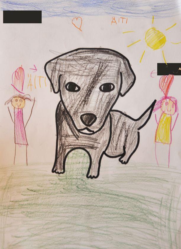 Lapsen piirros osoittaa pennun keskeisen aseman perheen silmäteränä.