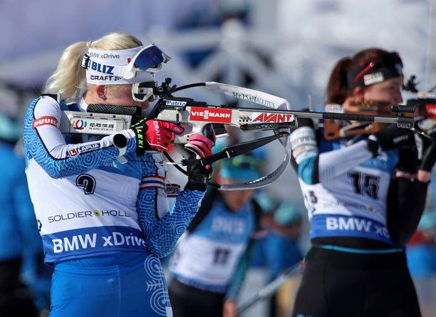 Kaisa Mäkäräinen teki hienon nousun Park Cityn maailmancupkilpailussa.