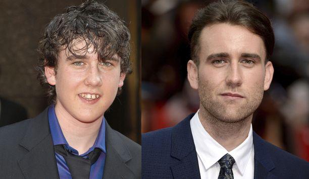 Matthew Lewis Harry Potter -elokuvien aikaan (vasemmalla) ja aikuisena (oikealla).