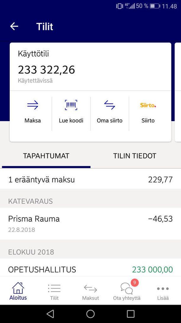Raumalaisen Minna Sirénin pankkitilille tupsahti torstaina ylimääräistä, kun Opetushallitus oli siirtänyt yli 200 000 euroa väärään paikkaan.