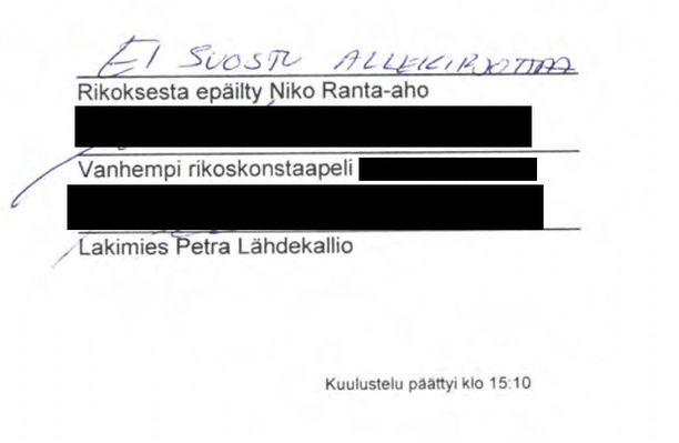 Niko Ranta-aho osoitti mieltään kiivaan kuulustelusession päätteeksi. Tutkintavankeus oli kestänyt jo viisi kuukautta, ja rikoskonstaapeli esitti piikikkäitä kysymyksiä.