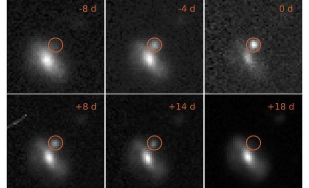 Kuva yhdestä välähdyksestä kahdeksan päivää ennen sen maksimikirkkautta ja 18 päivää sen jälkeen. Valoilmiö tapahtui 4 miljardin valovuoden päässä Maasta.