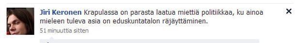 Näin Jiri Keronen kirjoittaa Facebook-profiilissaan.