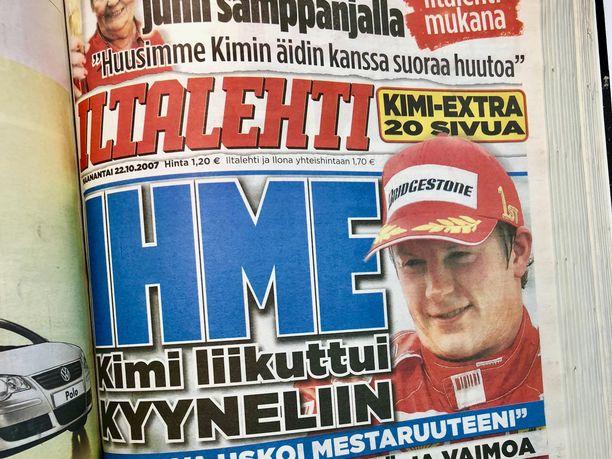 Maanantain 22.10.2007 Iltalehti sisälsi 20 sivun Kimi-extran.