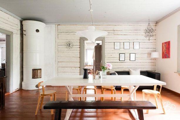 Perinteinen hirsiseinä toimii hienosti myös valkoiseksi maalattuna.