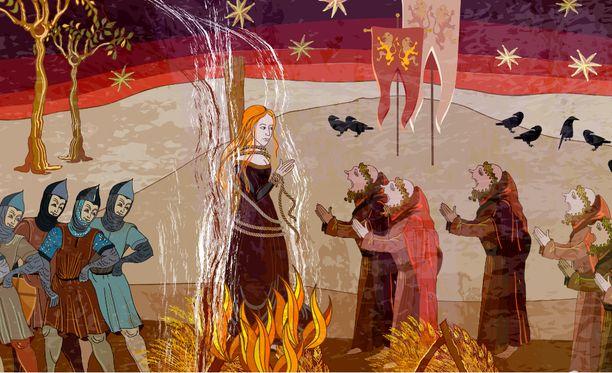 Tässä keskiaikaisessa piirroksessa on nainen tuomittu roviolla poltettavaksi.