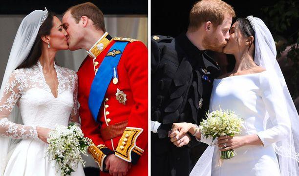 Cambridgen herttupari suuteli palatsin parvekkeella, kun puolestaan Harry ja Meghan suutelivat kirkon portailla.