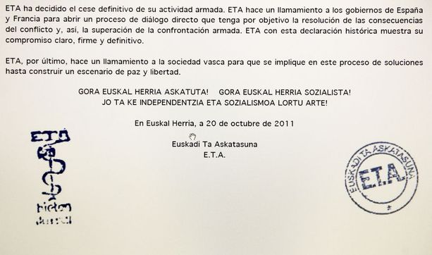 ETA kertoi vuonna 2011 aloittavansa pysyvän tulitauon.
