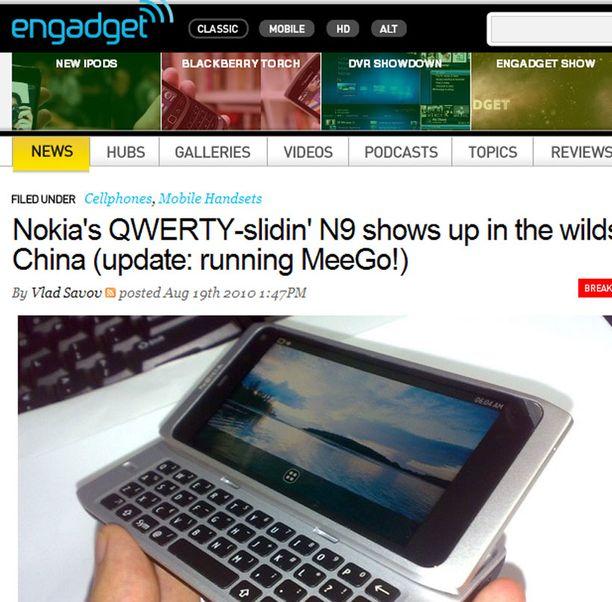 Engadget-sivustolla julkaistiin elokuussa kuvia Nokian N9-kännykästä.