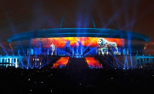 Pietarissa sijaitseva Krestovsky-stadion on ensi kesänä pidettävien MM-esikisojen päänäyttämö.