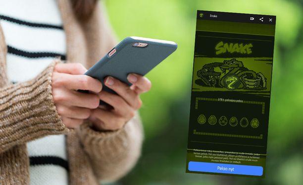 """Matopeliä pääsee pelaamaan kirjoittamalla Messengerin hakukenttään """"Snake""""."""