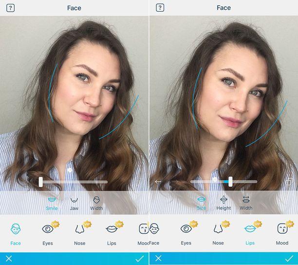 Ennen ja jälkeen sovelluksella tehdyn kasvonpiirteiden muokkauksen.