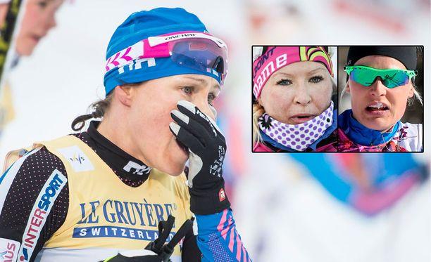 Aino-Kaisa Saarinen (iso kuva) arvioi tuoreessa kirjassaan Riitta-Liisa Roposta ja Anne Kyllöstä.