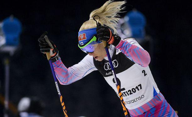 Mari Laukkanen kilpaili hiihdon arvokisoissa viimeksi Lahdessa 2017, kun hän oli MM-pariviestin paras suomalainen.