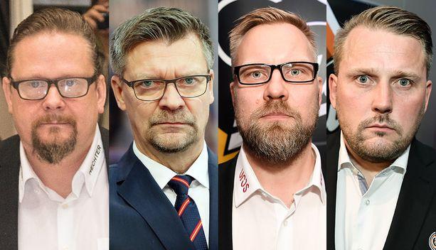 Vasemmalta oikealle: maalivahtivalmentaja Kari Lehtonen, päävalmentaja Jukka Jalonen, valmentaja Mikko Manner ja valmentaja Antti Pennanen.