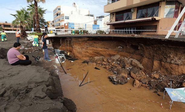 Rankkasateet aiheuttivat tuhoja Gran Canarialla.