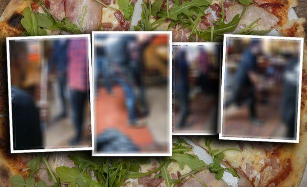 Poliisi epäilee pahoinpitelyrikoksia Helsingin pizzatappelussa.