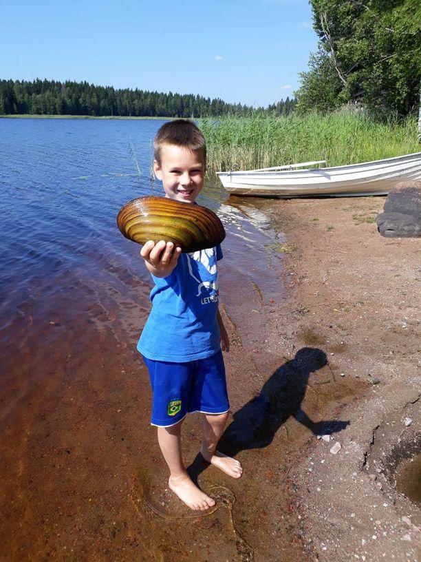 Simpukan suuruus korostuu 11-vuotiaan Antti-pojan käsissä.